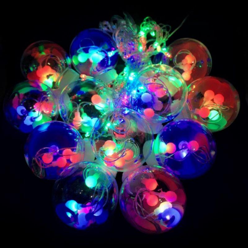 Светодиодная гирлянда-штора в виде ламп, свечение разноцветное