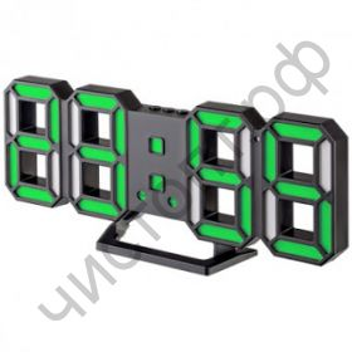 "Часы  эл. сетев. Perfeo LED ""LUMINOUS 2"", настол/настен. , черный корпус / зелёная подсветка (PF_B4926) (5В)"