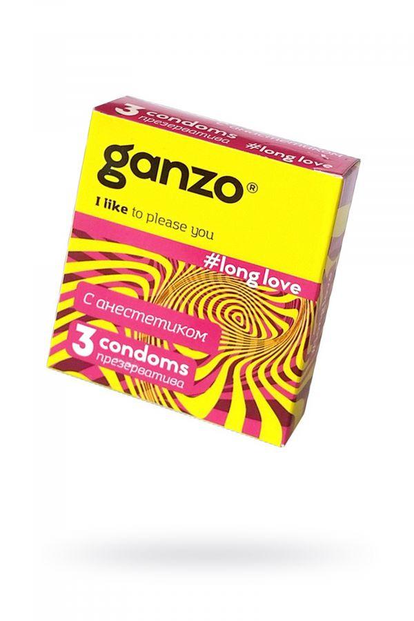Презервативы Ganzo Long Love, с анестезирующим эффектом, латекс, 18 см, 3 шт