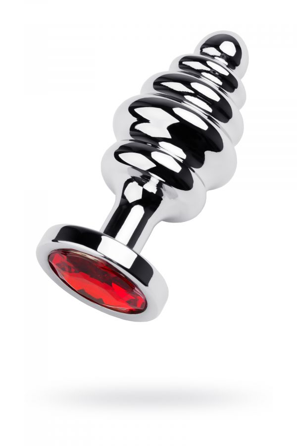 Анальный страз Metal by TOYFA, металл, серебристый, с кристаллом цвета рубин, 8 см, ? 3,5 см, 95 г