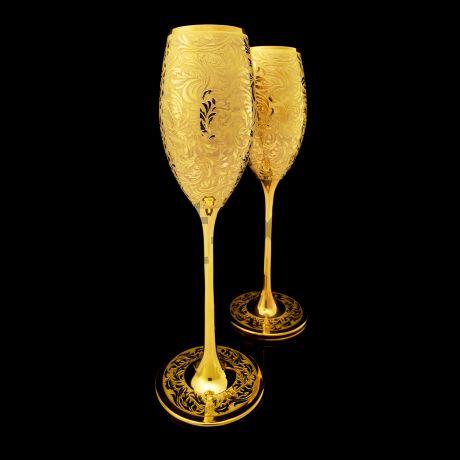 Набор бокалов для Шампанского в золоте 24 карата
