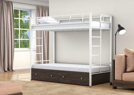 Двухъярусная кровать Валенсия Твист Белый ящики