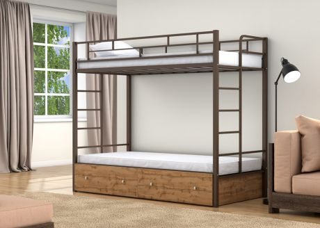 Двухъярусная кровать Валенсия Твист Коричневый ящики