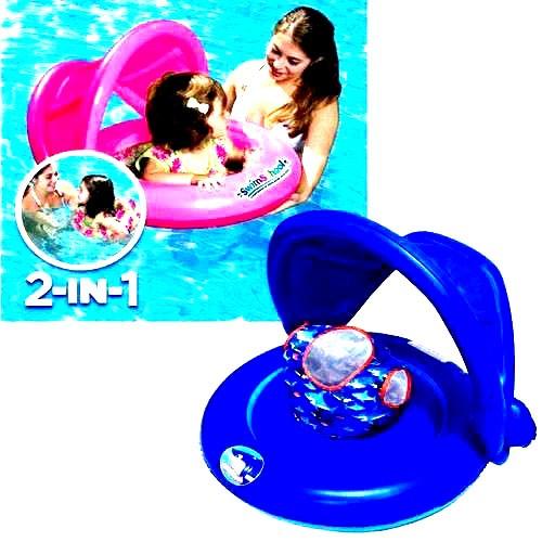 Универсальный надувной круг с навесом 2-IN-1 BABY BOAT
