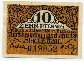 Германия. Нотгельд г. Циттау 10 пфеннигов 1920