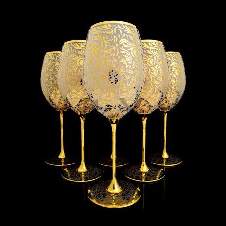 Набор бокалов для вина в золоте 24 карата в технике лед