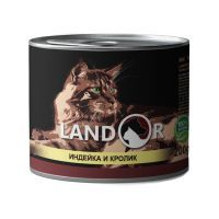 Ландор для взрослых кошек индейка с кроликом 200г