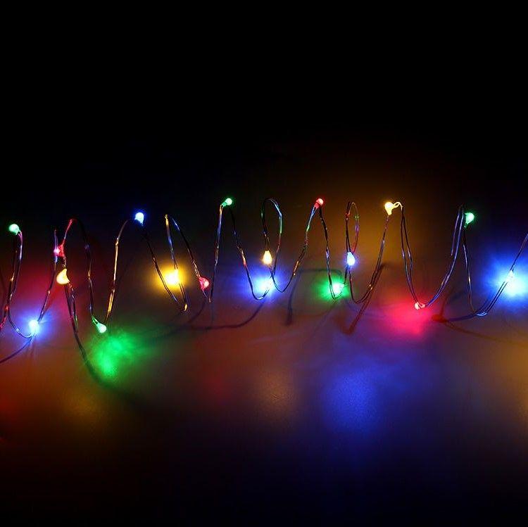 Светодиодная гирлянда на батарейках Нить 30 led огней, 3 м, цвет свечения разноцветный