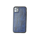 Кожаный чехол-накладка «Синий питон» на телефон
