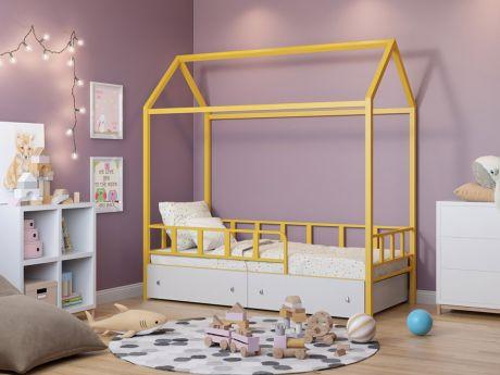 Кровать-домик Риччи Желтый ящики