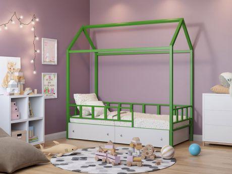 Кровать-домик Риччи Зеленый ящики