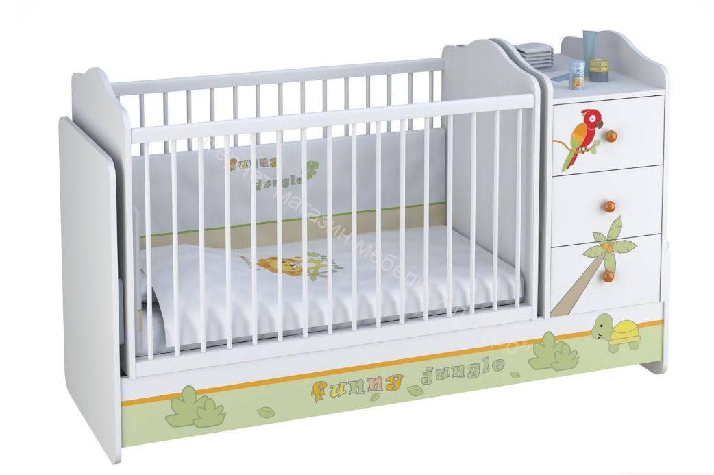 Кроватка-трансформер Polini Basic Джунгли с комодом