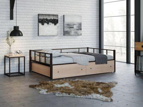 Односпальная кровать Арга 120 Коричневый ящики