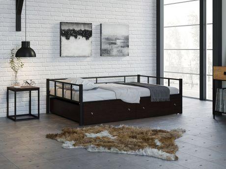 Односпальная кровать Арга 120 Черный ящики