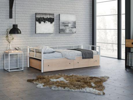 Односпальная кровать Арга Белый ящики