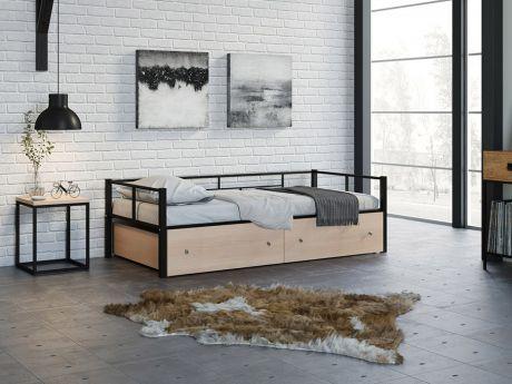 Односпальная кровать Арга Черный ящики
