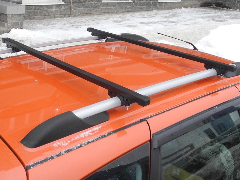 Багажник на рейлинги (эконом) на Лада Гранта / Лада Калина универсал, Евродеталь, стальные дуги