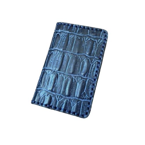 Кожаная обложка на паспорт синяя