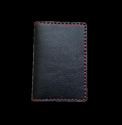 Кожаная обложка на паспорт черная