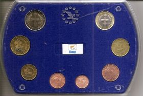Набор евро монет Кипр 2008 в коробке (пластик)