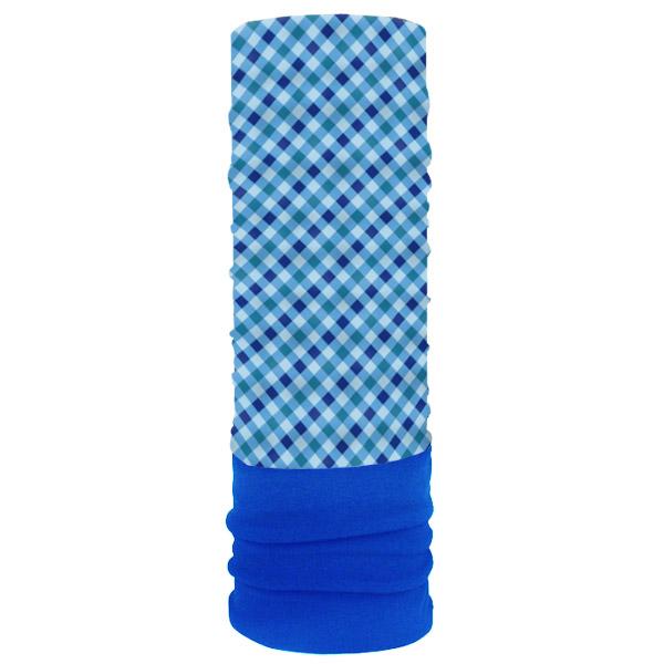 Мультишарф с флисом в синюю клетку