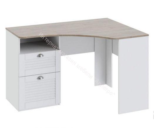 Угловой письменный стол с ящиками «Ривьера» (Дуб Бонифацио/Белый)