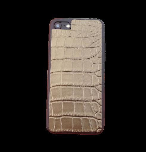 Кожаный чехол-накладка «Коричневый Крокодил» на телефон
