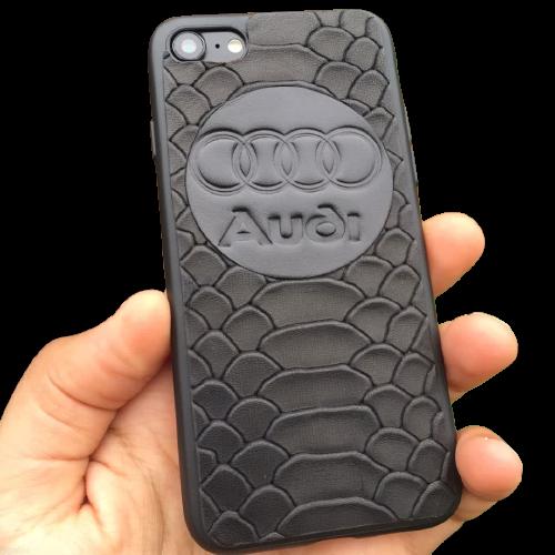 Кожаный чехол-накладка с логотипом «Audi» на телефон