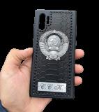 Кожаный чехол-накладка с гербом СССР черный на телефон