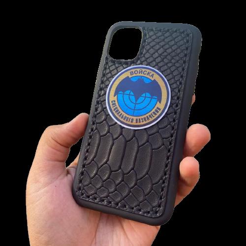 Кожаный чехол-накладка «Войска специального назначения» на телефон