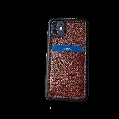 Кожаный чехол-накладка с отделением для карт на телефон