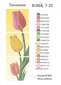 ЮМА ЮМА-Т-23 Тюльпаны схема для вышивки бисером купить оптом в магазине Золотая Игла - вышивка бисером