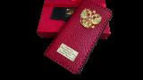 Кожаный чехол-книжка с гербом РФ красный для iPhone