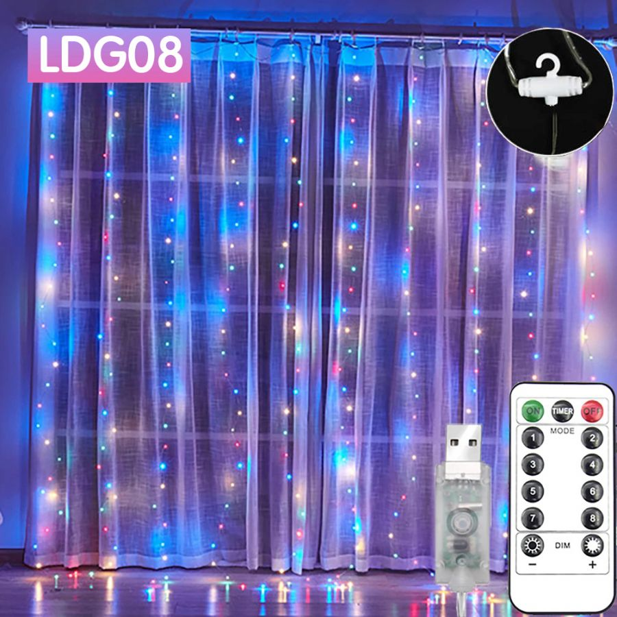 Огонек OG-LDG08 гирлянда-штора LED (3х3м,300 ламп, RGB)