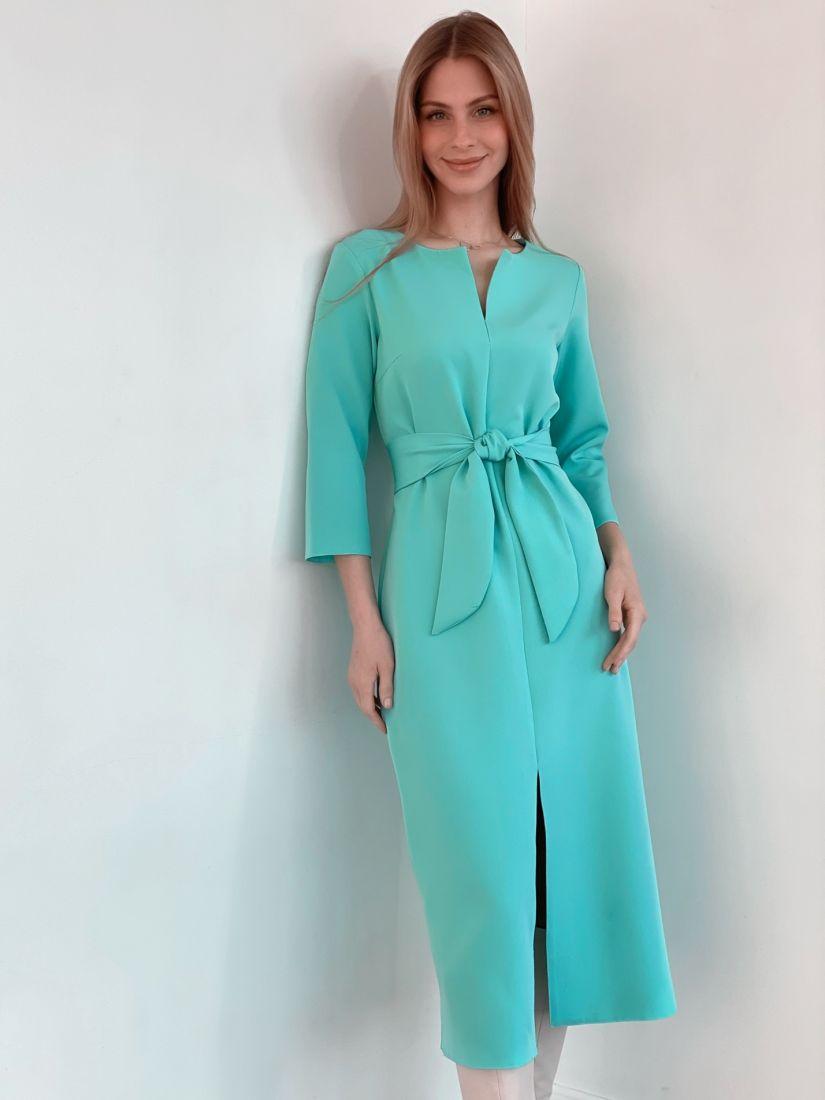 s3679 Прямое платье с фигурным поясом в цвете menthol