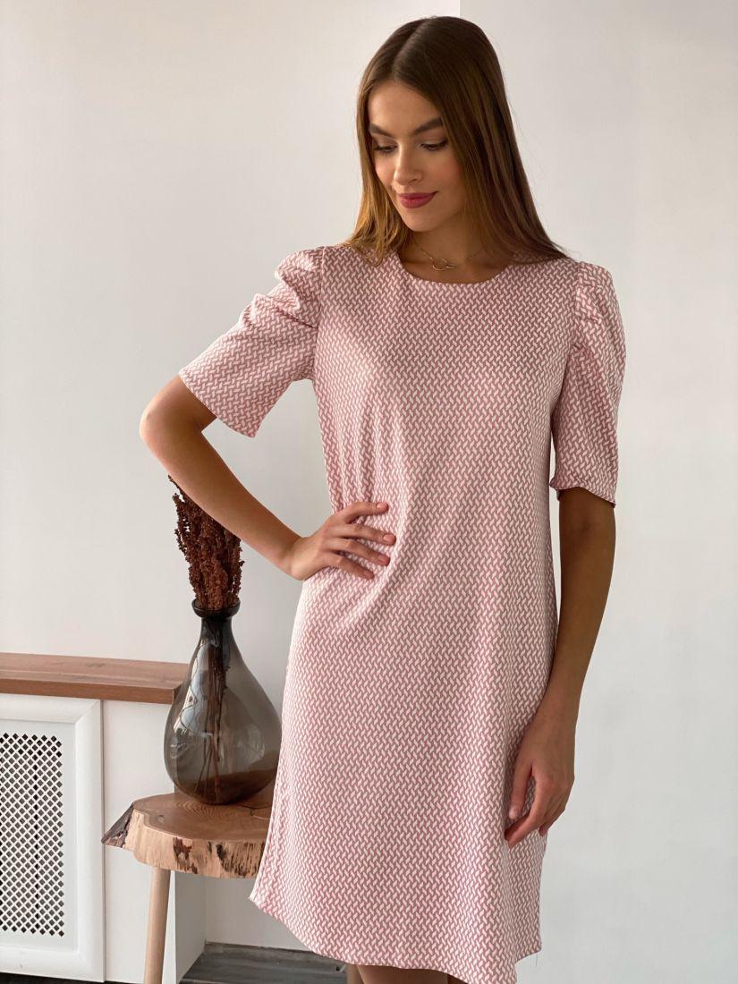 s2013 Платье с объёмными рукавами пудровое