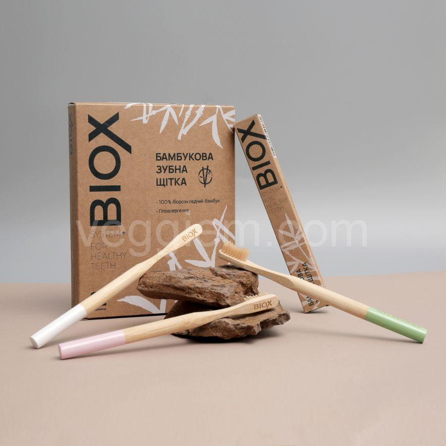 Щетка зубная бамбуковая Pink BIOX
