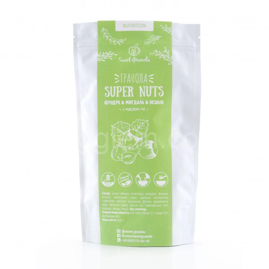 Гранола Super Nuts фундук,миндаль,кешью Sweet Granola,300 грамм