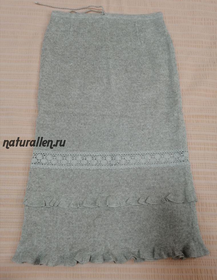 Трикотажная льняная юбка с кружевной вставкой
