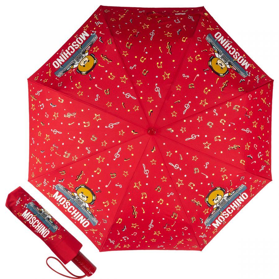 Зонт складной Moschino 8069-OCС DJ bear Red