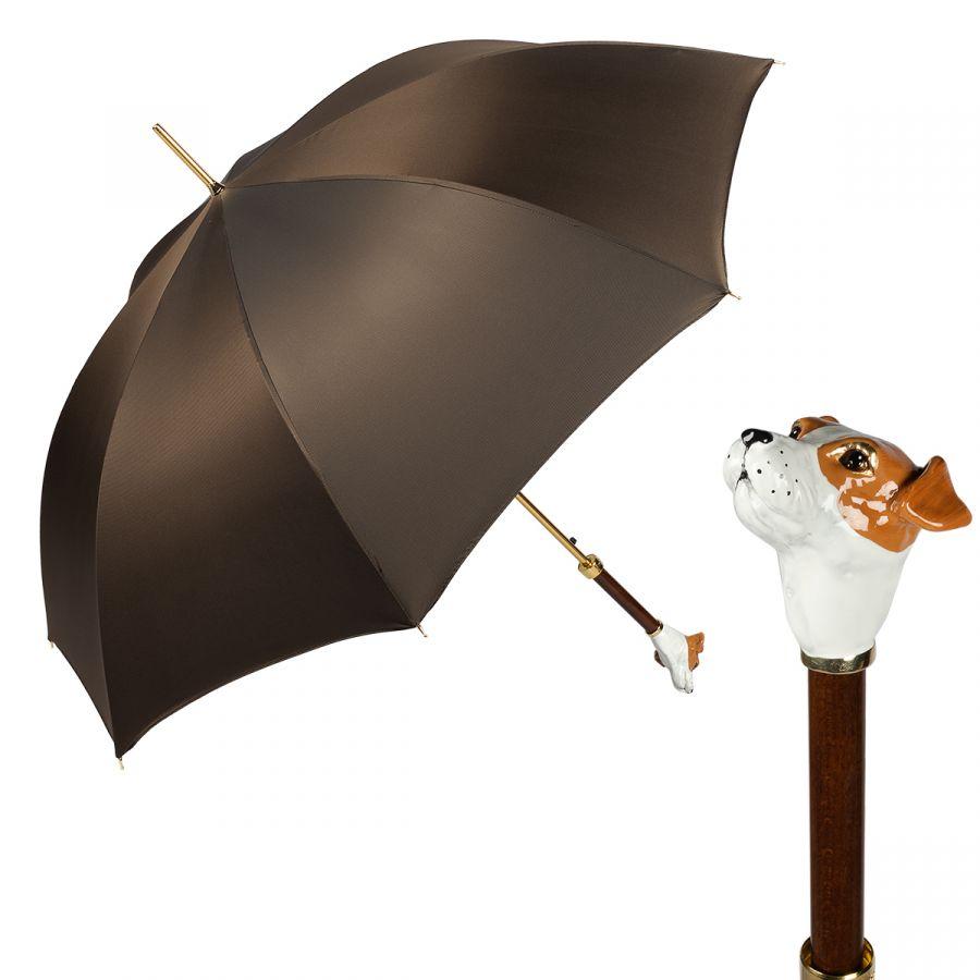 Зонт-трость Pasotti Jack Russell Oxford Marrone