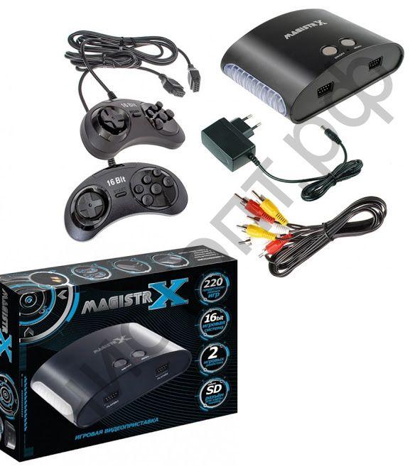 Игровая приставка Sega Magistr Х 220 игр карта micro SD (конс.с 220 встр.играми, 2джой., бл.пит.,каб.TV) Сега