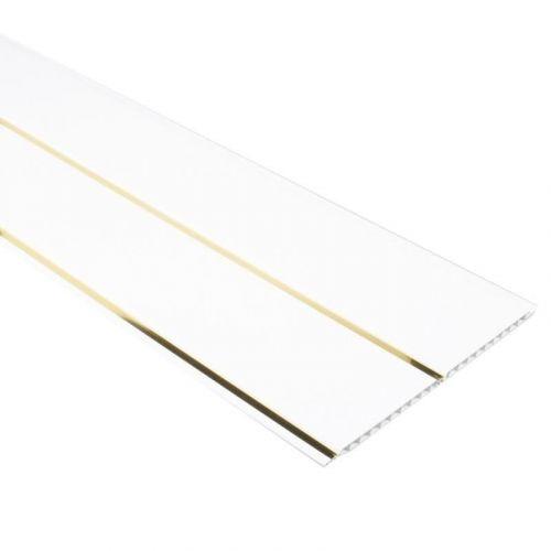 Пластиковый реечный потолок белый глянец с золотой полосой