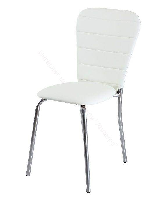 """Кухонный стул """"В-2"""" Белый кожзам/Хром"""