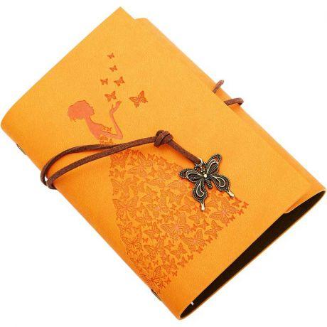 Блокнот Девушка с бабочками (13*18 см., оранжевый)