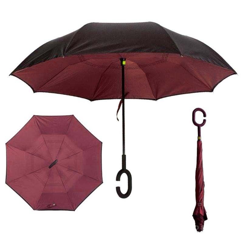Зонт наоборот (Обратный зонт) Бордовый однотонный