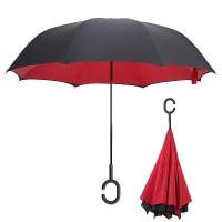 Зонт наоборот (Обратный зонт) Красный однотонный