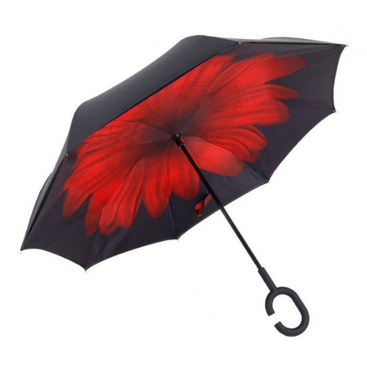 Зонт наоборот (Обратный зонт) Красный цветок
