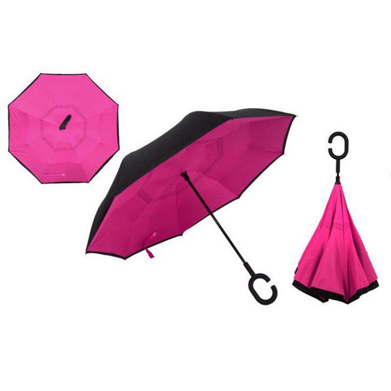 Зонт наоборот (Обратный зонт) Розовый однотонный