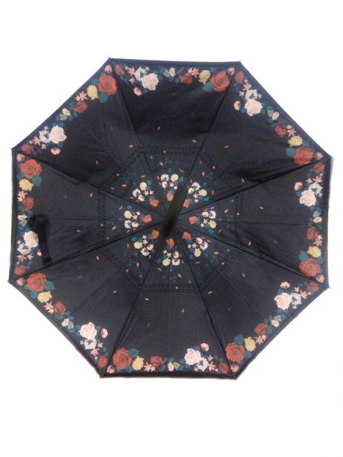 Зонт наоборот (Обратный зонт) Узор из мелких роз